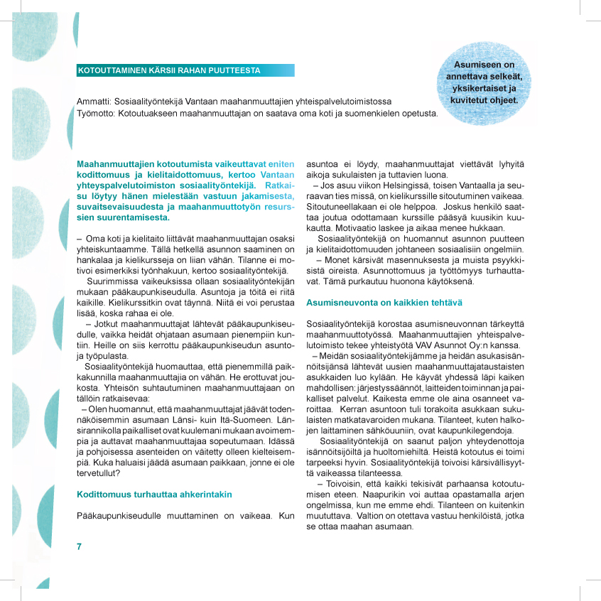 Suomen Pakolaisavun KOTILO-projektin loppujulkaisu 2010
